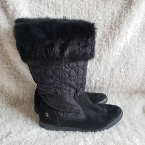 Coach Talen Suede and Fur Quilted Winter Boots 9.5